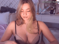 Busty blonde wife masturbating when husband away