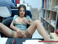 Hot brunette secretary fingering herself behind her boss